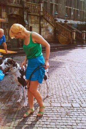 chartreuse Zara top - sky blue Mango skirt - chartreuse Zara flats