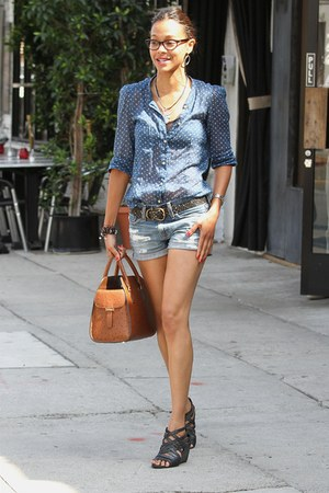 denim shorts - polka dot shirt - tote bag - strappy wedges