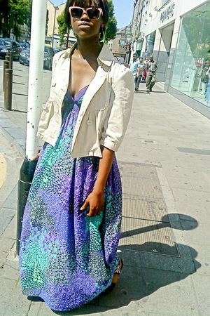 purple Primark dress - beige new look jacket - black River Island shoes - beige