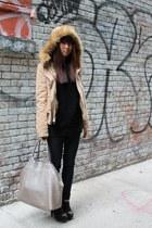 jeans - jacket - sweater - bag - spiked heels