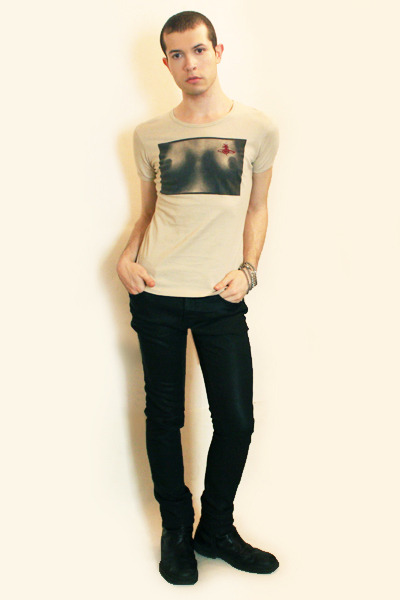 beige vivienne westwood t-shirt - black Zara pants - black boots - silver Topman