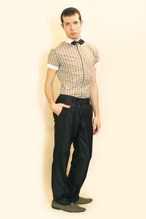 beige Sisley shirt - gray Zara pants - gray H&M tie - gray H&M shoes
