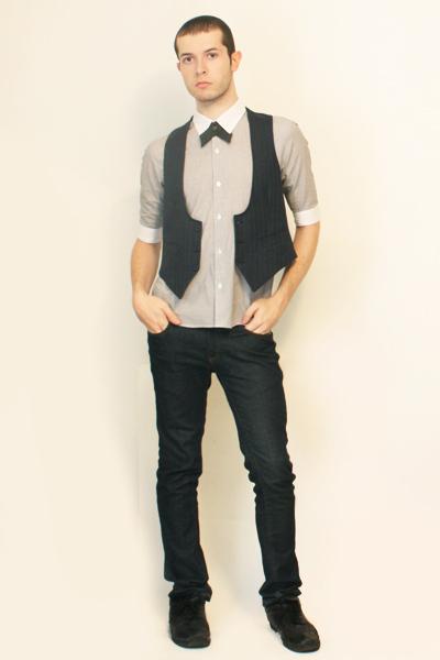 Hanjiro shirt - Handmade Etsy tie - Hanjiro vintage vest - Zara jeans - shoes