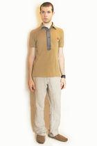 beige vivienne westwood shirt - beige H&M pants - brown H&M shoes - brown H&M ac