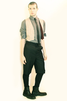 gray H&M shirt - white vintage from Paris vest - black Tie tie - black Tapena Pa