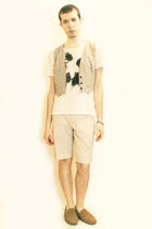 beige Zara t-shirt - beige vintage from Paris vest - beige H&M shorts - brown H&