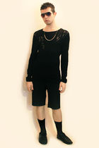 black H&M sweater - black vintage shorts - black H&M shoes - silver Topman neckl