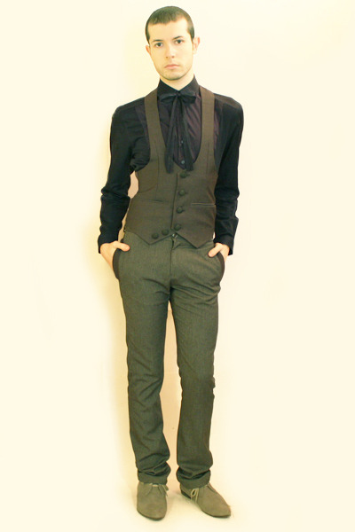 blue H&M shirt - gray Vintage from Harajuku vest - gray Zara pants - gray H&M sh