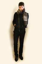 black Zara shoes - dark gray Zara jacket - beige vivienne westwood scarf - black