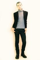 gray From Shinjuku Tokyo sweater - black Npfeel jacket - black Zara pants - blac