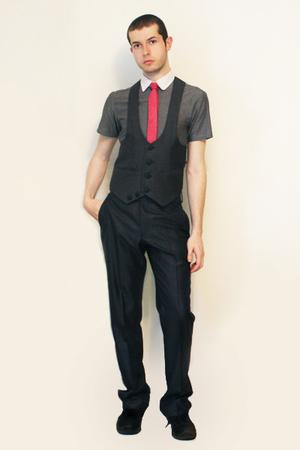 Hanjiro shirt - Harajuko Tokyo vest - Vintage from Florence tie - Zara pants - s