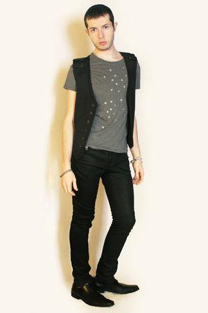 gray Zara vest - black shoes - black Zara pants - silver Topman accessories