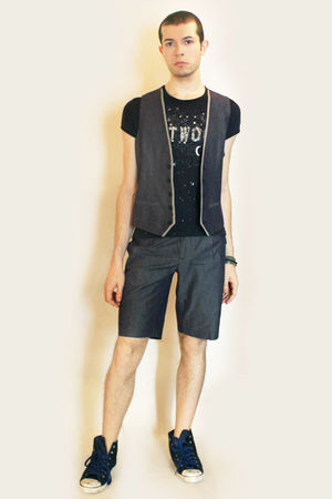 blue vivienne westwood t-shirt - blue Sisley vest - blue Sisley shorts - blue Si