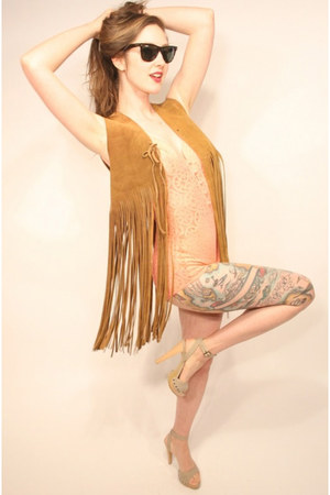 leather fringe YO VINTAGE vest - bathing bodysuit