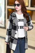 Black and White Plaid Looose Fit Coat YRB0298