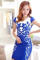 Elegant Floral Printed Bodycon Mini Dress YRB0055