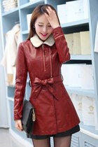 PU Leather Zip Autumn Coat Fur Collar YRB0302