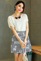 Chiffon Top Crocheted Mini Skirt Dress YRB0052