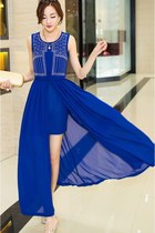 2in1 Maxi Chiffon Summer Dress Encrusted Diamonds YRB0010