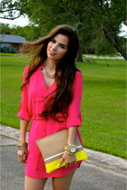 hot pink shirt dress Naaz Boutique dress - yellow clutch Madly-yours purse
