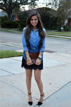 blue chambray shirt Forever 21 shirt - bronze solitaire Jeffrey Campbell shoes