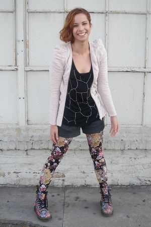 pink H&M jacket - Urban Outfitters tights - doc martens boots - black Love 21 to