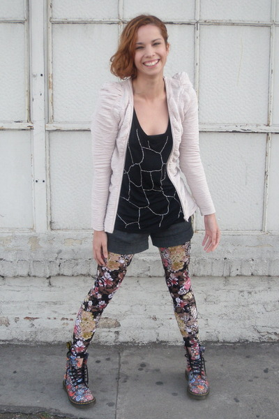 pink H&amp;M jacket - Urban Outfitters tights - doc martens boots - black Love 21 to