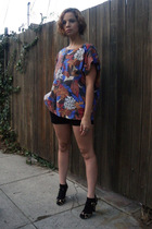 beige steve shoes - black vintage shorts - red vintage top
