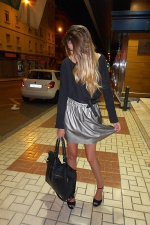 black lefties sweater - silver primark skirt - black lefties wedges