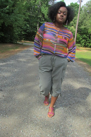 light orange Sheer Blouse blouse - dark khaki Cargo pants pants
