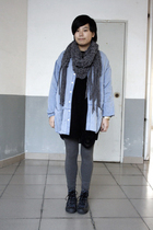 blue FIRST MING shirt - black Wonder Woman sweater - gray scarf - gray H&M leggi