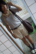 scarf - t-shirt - Recycletheme shorts - TH belt - socks - NANING9 shoes