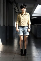 beige River Island shirt - black belt - blue Uniqlo shorts - black Katie Judith