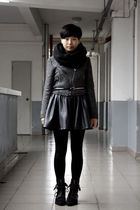 black H&M scarf - gray jacket - black twopercent belt - black HKR collections sk