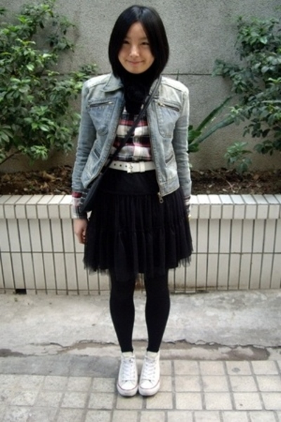 blue heroes denim jacket - scarf - Baby Jane belt - skirt - prezzo - Converse sh