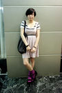 White-izzue-t-shirt-pink-h-m-dress-black-mango-purse-black-belt-purple-h