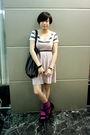 White-izzue-t-shirt-pink-h-m-dress-black-mango-purse-black-belt-purple-h