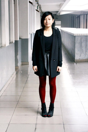 black H&M blazer - brick red tights - black leather HKR collections skirt - blac