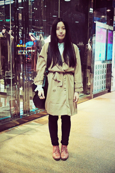camel CBOMB coat - ruby red Hush Puppies boots - white CBOMB shirt
