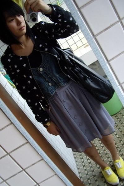 H&M jacket - nlgirl t-shirt - j-honey vest -  skirt - Mango purse - bambini shoe