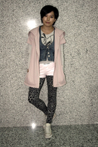 baleno attitude coat - swimwear - j-honey vest - Paul Frank shorts - Bershka leg
