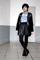 black Worthington cardigan - blue H&M shirt - black HKR collections skirt - blac