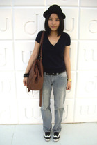 hat - Zara t-shirt -  - WIP jeans - H&M bracelet - Giordano Concepts shoes