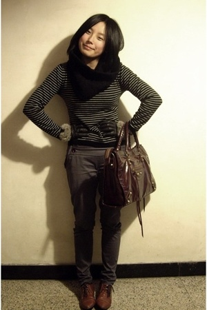 twopercent scarf - jacky sweater - gloves - pants - - NANING9 shoes