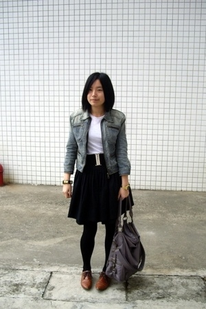 blue heroes denim jacket - Zara t-shirt - wish list skirt - wish list belt - TH