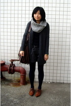 twopercent scarf - t-shirt - coat - shorts - NANING9 shoes -  purse