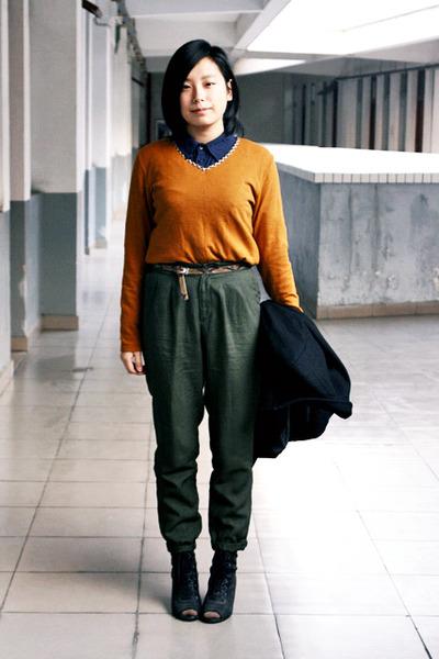 black Zara coat - tawny JAKET sweater - navy chapel shirt