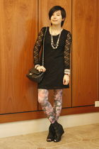 black chapel dress - purple cotton on tights - black Katie Judith shoes - black