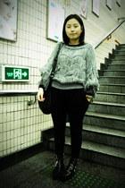 black puzzle boots - heather gray sweater - black DIZEN bag - black As know as p
