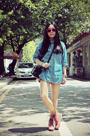 red H&M shorts - ruby red Hushpuppies boots - sky blue Shuca shirt
